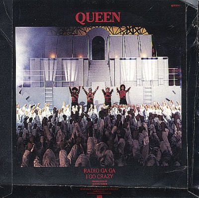 Queen: Record sleeve for Radio Ga Ga the music video of which incorporated a great deal of footage from Metropolis
