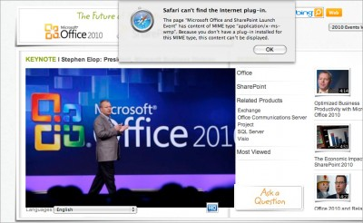 The Office 2010 site as seen on a Mac