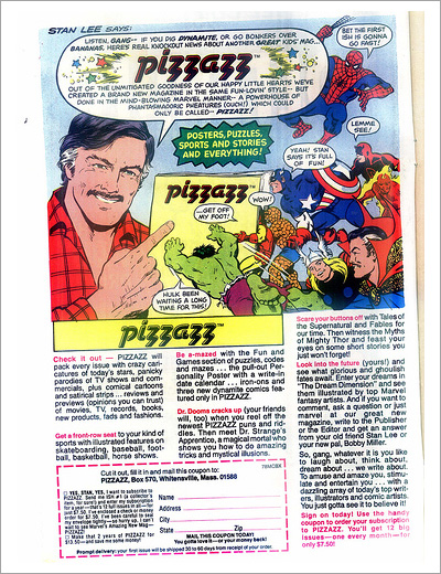Pizzazz magazine advertisement
