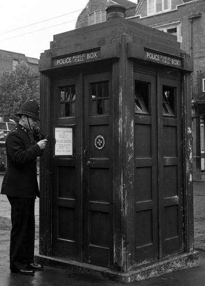 a Tardis-like Metropolitan Police Box in Hammersmith,  London circa 1948.