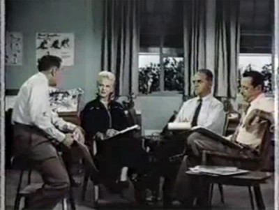A staged Disney animation meeting with Peggy Lee