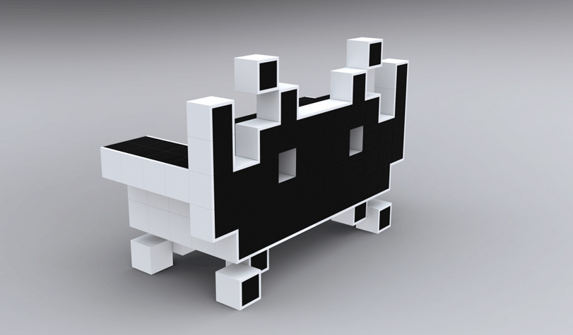 a space invaders couch that scores. Black Bedroom Furniture Sets. Home Design Ideas