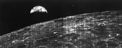 One of the first two remote images of Earth from the distance of the Moon, August 23, 1966.
