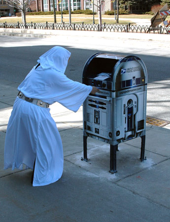 R2-D2 Mailbox Receives Princess Leia's Message