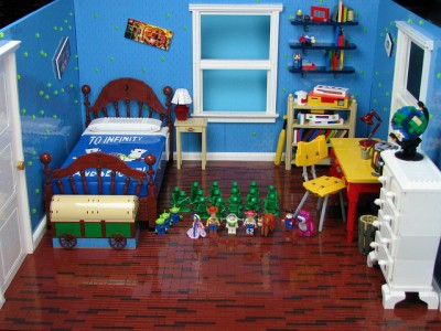 Andy's room from Toy Story made out of Legos by Matt De Lanoy