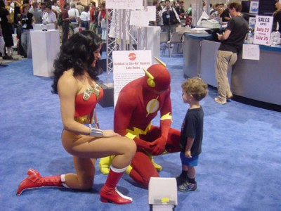 Flash and Wonder Woman help lost boy