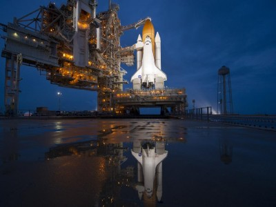 This image of space shuttle Atlantis was taken shortly after the rotating service structure was rolled back at Launch Pad 39A, Thursday, July 7, 2011. Atlantis is set to liftoff today, Friday, July 8, on the final flight of the Space Shuttle Program.