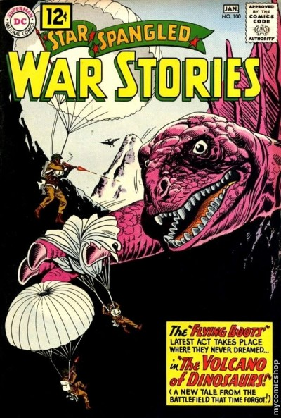 a combat themed comic book from january 1962 — with dinosaurs!