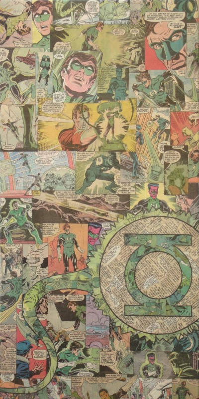 Green Lantern comic collage art