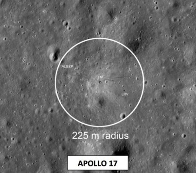 NASA's proposed radius around the Apollo 17 landing site.