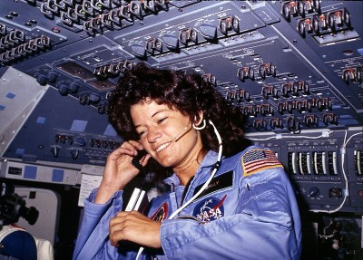 Sally Ride America's first woman astronaut communicates with ground controllers from the flight deck during the six day mission of the Challenger. National Aeronautics and Space Administration.