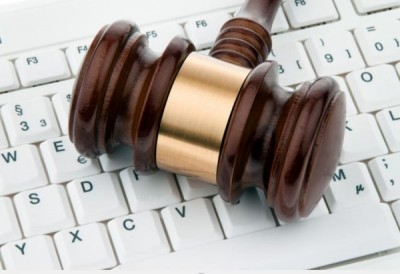 Gavel on keyboard